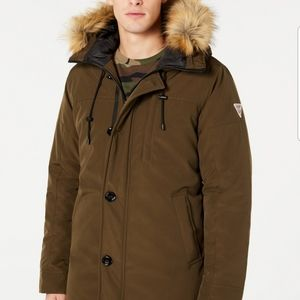 GUESS  Men's Hooded Parka with Removable Faux-Fur